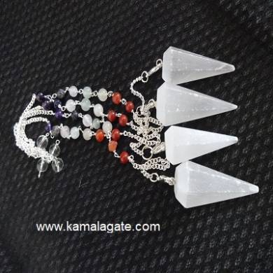Faceted White Senolite Pendulums With Chakra Chain