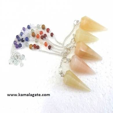 Faceted Yellow Aventurine Pendulums With Chakra Chain