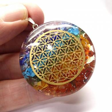 7 Chakra Orgonite Pendant with Flower of life