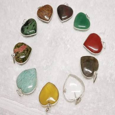 Gemstone Heart Shape Pendant With Metal Fram