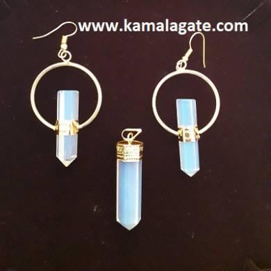 Gemstone Opelite Pencil Necklace Sets