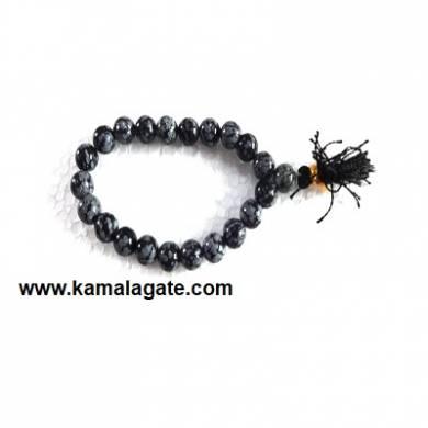 Gemstone Power SnowFlake Obsidean Bracelets