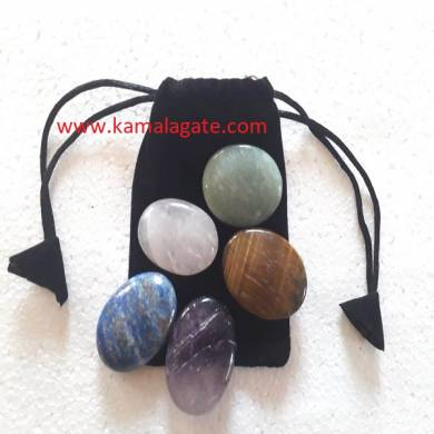 Gemstone Worry Stone Five Pcs Reiki Sets with Valvet Purse