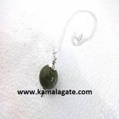 Grass Jasper Ball Pendulum (Silver)