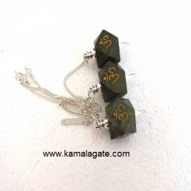 Grass Jasper Hexagon Om Engraved Pendulum