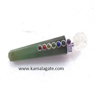 Green Aventurine Healing Wand With Crystal Skulls