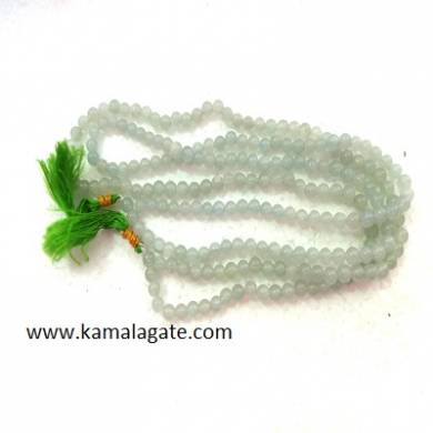 Green Aventurine 8mm Beads Jap Mala with silver charms
