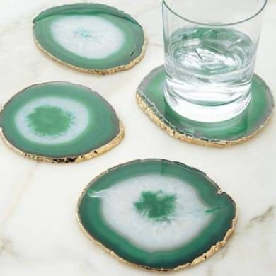 Green Agate Coasters 3-4 inch With Electroplating