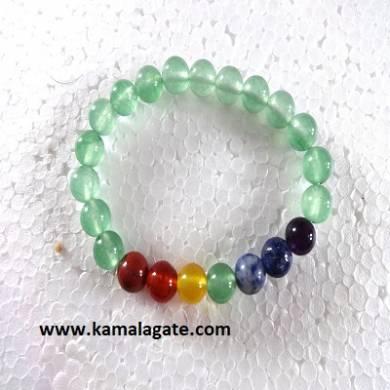 Green Onxy Plain Elastic Chakra Bracelets