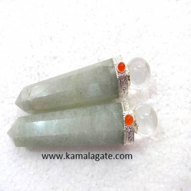 Green Quartz Healings Wands With crystal Ball