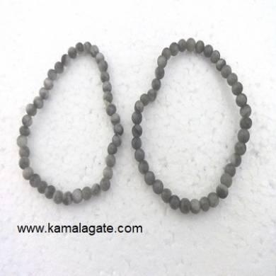 Grey Jasper Gemstone Beads Elastic Bracelets
