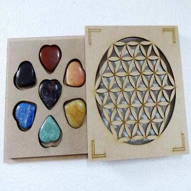 Seven Chakra Gems Heart Shaped Chakra set with Wooden Box