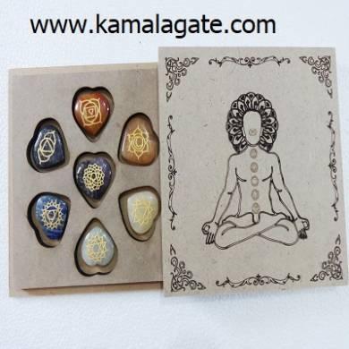 Gemstone Heart Shape Engraved Chakra Set With Wooden Box