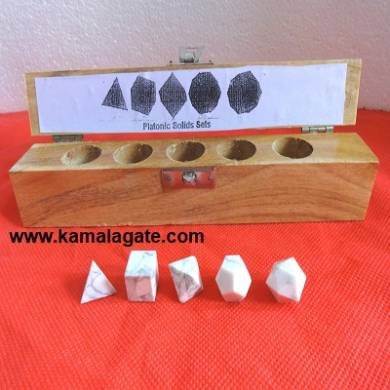 Howlite Five Pieces Geometry Sets With Wooden Box