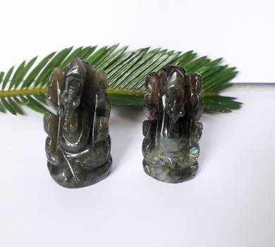 Labrodolite Gemstone Carved Ganesha