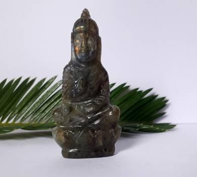 Labrodolite Gemstone Carved Buddha