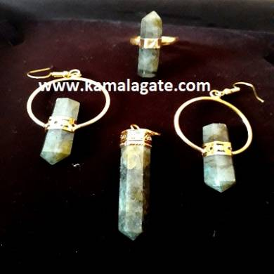 Labrodolite Pencil Pendent Set (Golden)