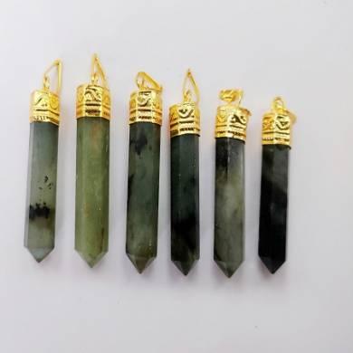 Labrodolite Gemstone Metal Golden Cab Pendant