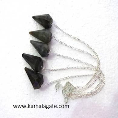 Labrodolite Faceted Pendulums