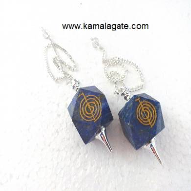 Lapiz Lazuli Cho Ko Reiki Pendulum (SILVER)