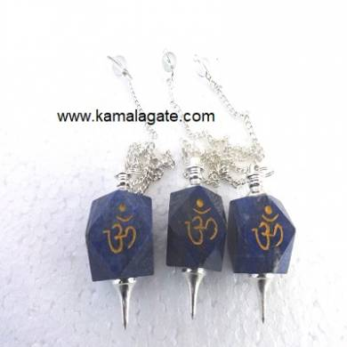 Lapiz Lazuli Hexagon Om Engraved pendulum