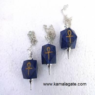 Lapiz Lazuli Hexagon Ankh Pendulum (SILVER)