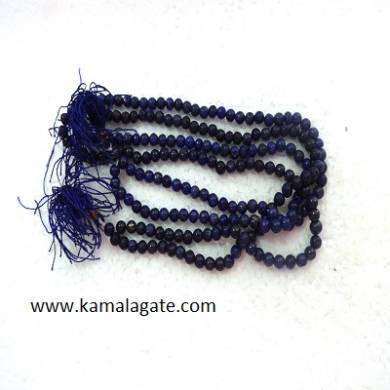 Lapzi Lazuli 8mm Beads Jap Mala With Silver Charms
