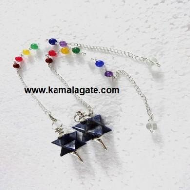 Lapiz Lazuli Merkaba Star Pendulum With 7Chakra Chain