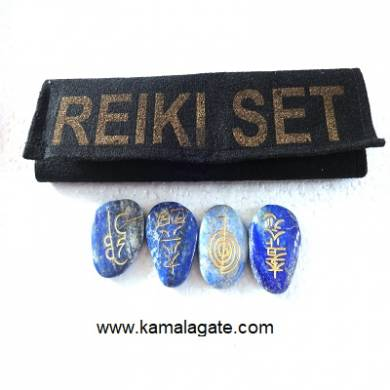 Engraved Lapiz Lazuli Reiki sets With Valvet Purse