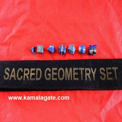 Lapiz Lazuli Seven Pieces Geometry Sets With Valvet Pouch