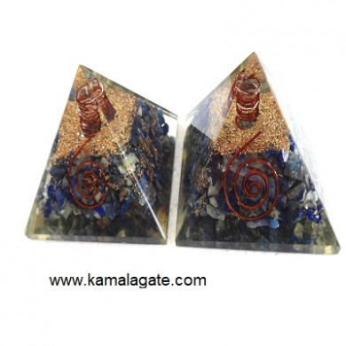 Lapiz Lazuli Orgone Pyramid With Quartz point [Big]