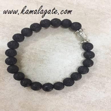 Lava Beaded Bracelet with Buddha Head