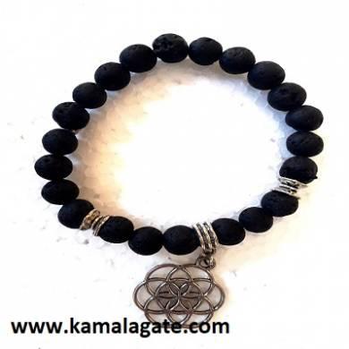 Lava Stone Flower Of Life Bracelets