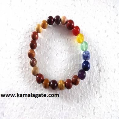 Mookaite Plain Elastic Chakra Bracelets