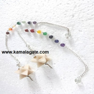 Moonstone Merkaba Star Pendulum With 7Chakra Chain