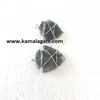 Moss Agate Wire Wrap Arrowheads Pendents