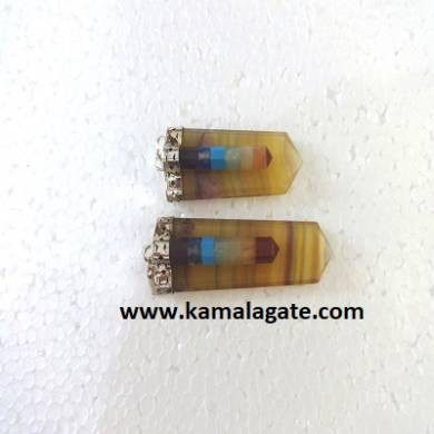 Multi Flourite Chakra Bonded with Flat Pendents