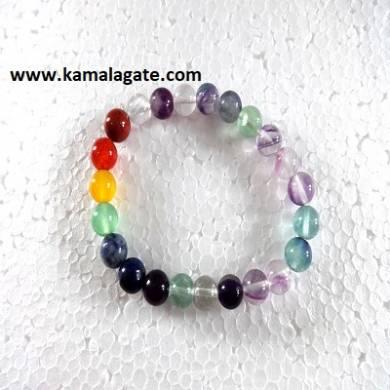 Multi Flourite Plain Elastic Chakra Bracelets