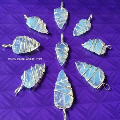 Opalite Bifaces Metal Coil Wrapped Pendant