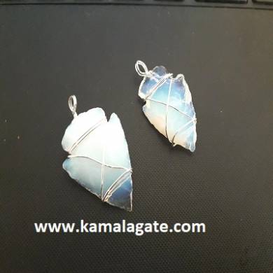 Opalite Wire Wrap Arrowheads Pendent