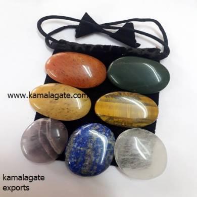 Seven Chakra Oval Shape Gemtsone With Velevt Bag