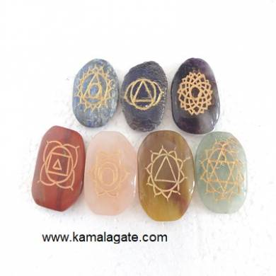 Engraved Palm Stone Chakra Sets