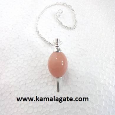 Peach Aventurine Ball Pendulum (Silver)