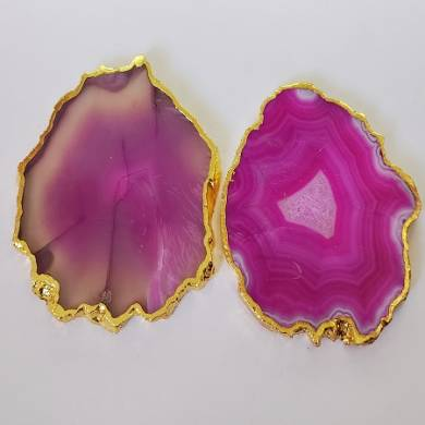 Pink Agate Cpaster with Golden Electroplaring Agate Slices