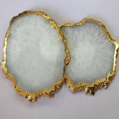 White Agate Coaster With Golden Electroplating Agate Slices