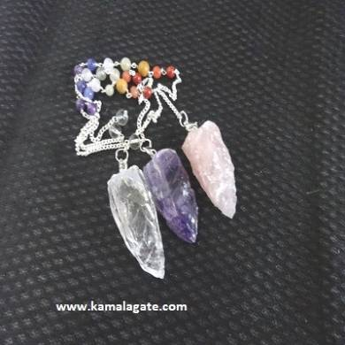 R.A.C Gemstone Cluster Pendulums With Chakra Chain