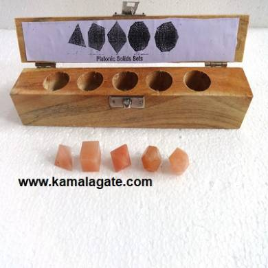 Red Aventurine Five Pieces Geometry Sets With Wooden Box
