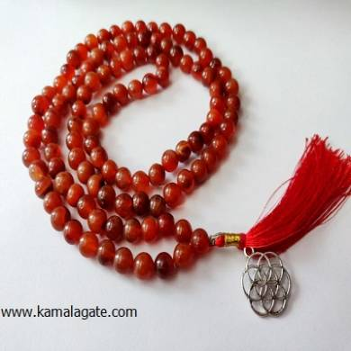 Red Carnelian 8mm Beads With Silver Charms Jap Mala