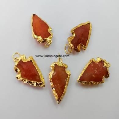 Red Carnelian Gemstone Arrowhead Golden Electroplated Pendant
