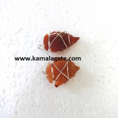 Red Carnelian Wire Wrap Arrowheads Pendents